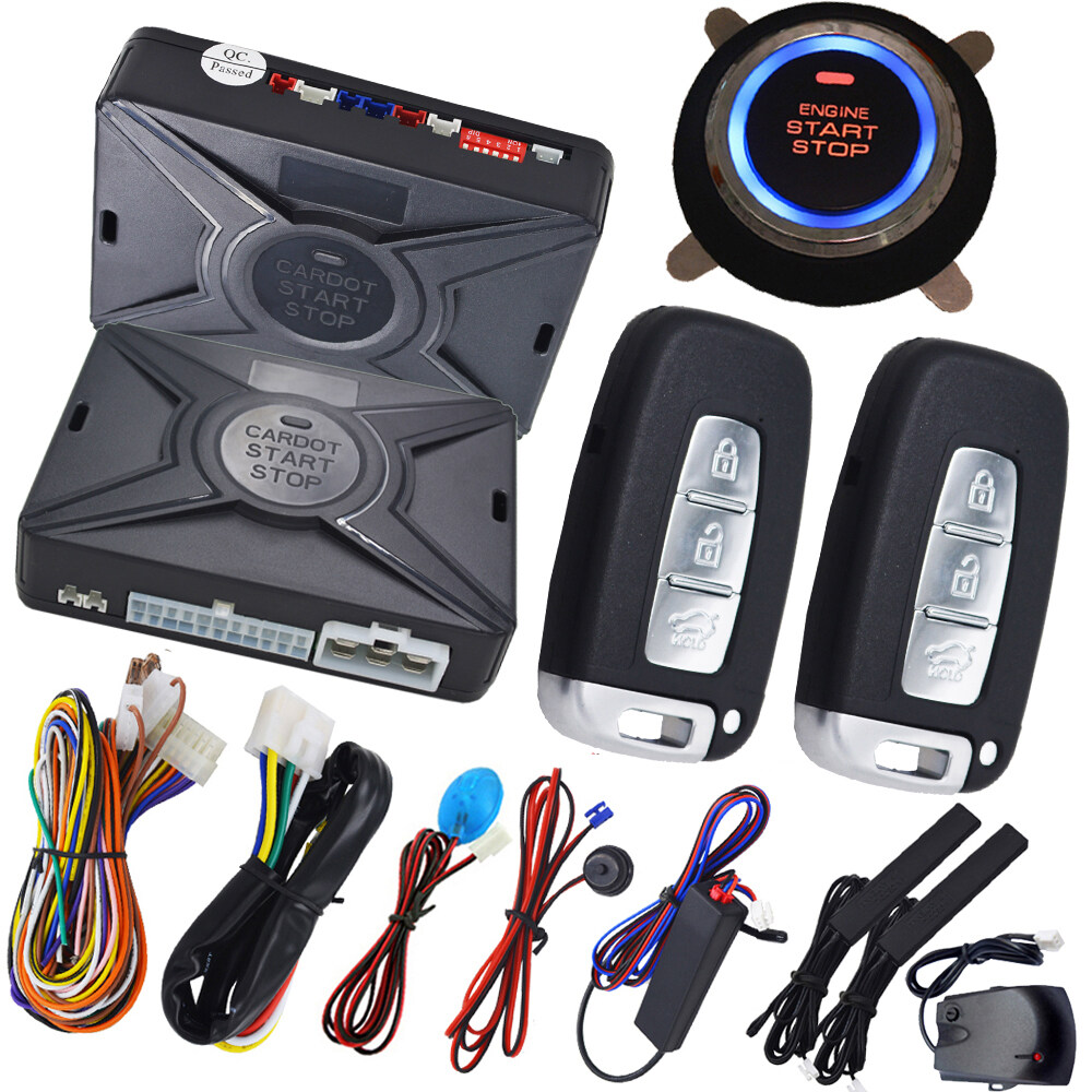 Quality Auto Passive Keyless Entry Kit Pke Car Alarm System Remote Mobil Push Button Engine Start Rfid Lock Ignitaion With Black Automotive Ignition Central Locking