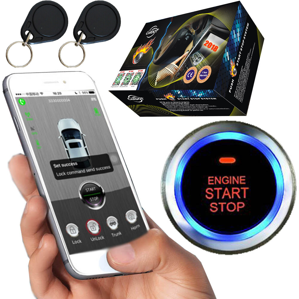 rfid immobilizer anti theft car engine with start stop button mobile phone  app gps online real time tracking online discount