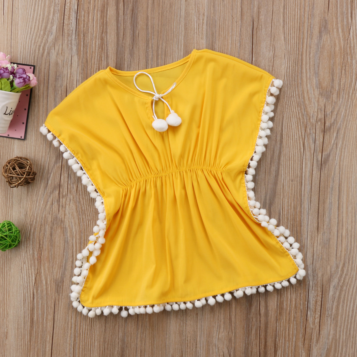 595c7f2d55742 Baby Girl Floral Pompom Tassel Sun Protection Dress Swim Cover-Ups Rash  Guard Dress