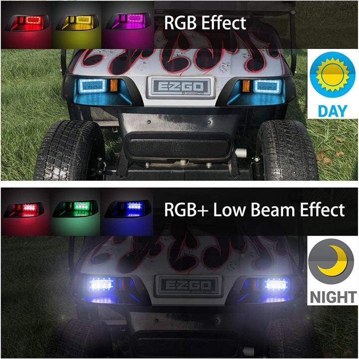 Deluxe LED Light Kit for EZGO TXT with RGB Music Headlight Daytime Running Light Low High Beam Turn Signal Function