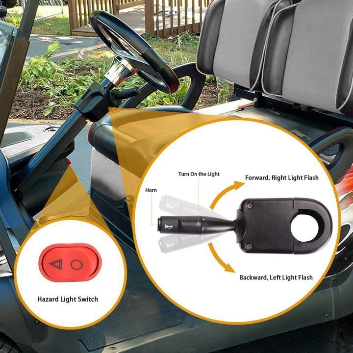 Golf Cart Turn Signal Kit with Horn Brake Light Switch, 9-Pin Plug Upgrade Wiring Harness - 12V
