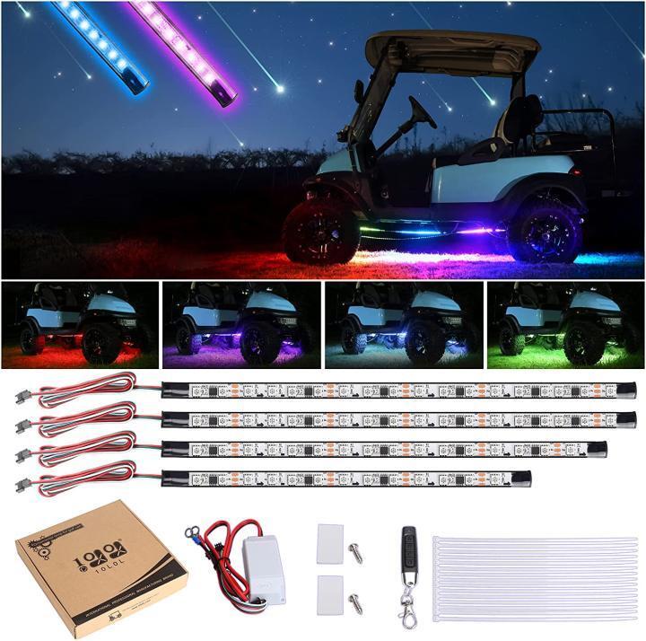 4PCS 16 Modes Multi-Color Lighting Sound Active Underglow LED Light Strip for EZGO Club Car Yamaha,