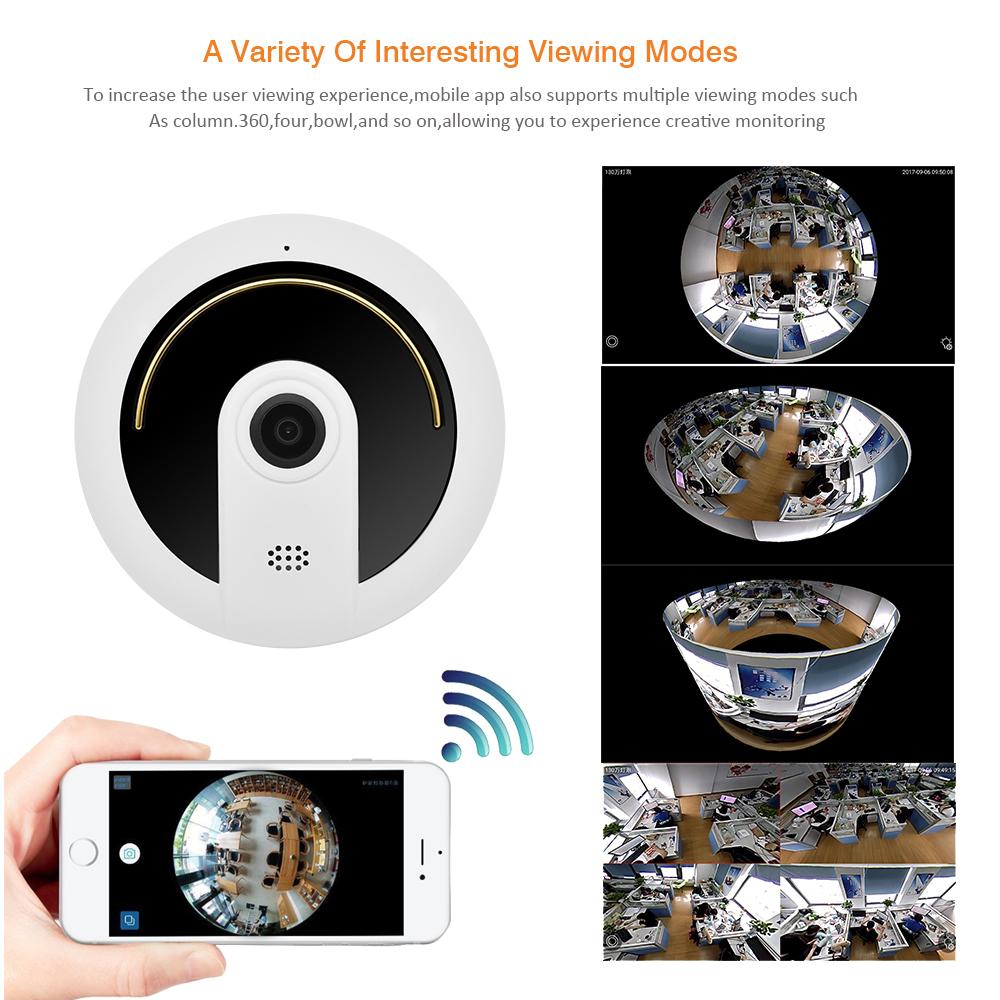 Wistino 960P Wireless IP Camera 360 Degree Panoramic VR Fisheye MINI Camera  Wifi Network Security Video Monitor Night VisiIon