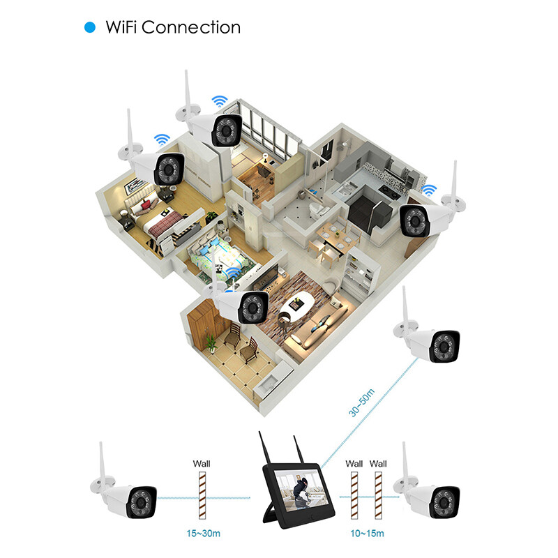 Wistino 8CH Wireless NVR Kit HD 960P Security IP Camera Outdoor Screen  Video Monitor WiFi Surveillance CCTV System Waterproof