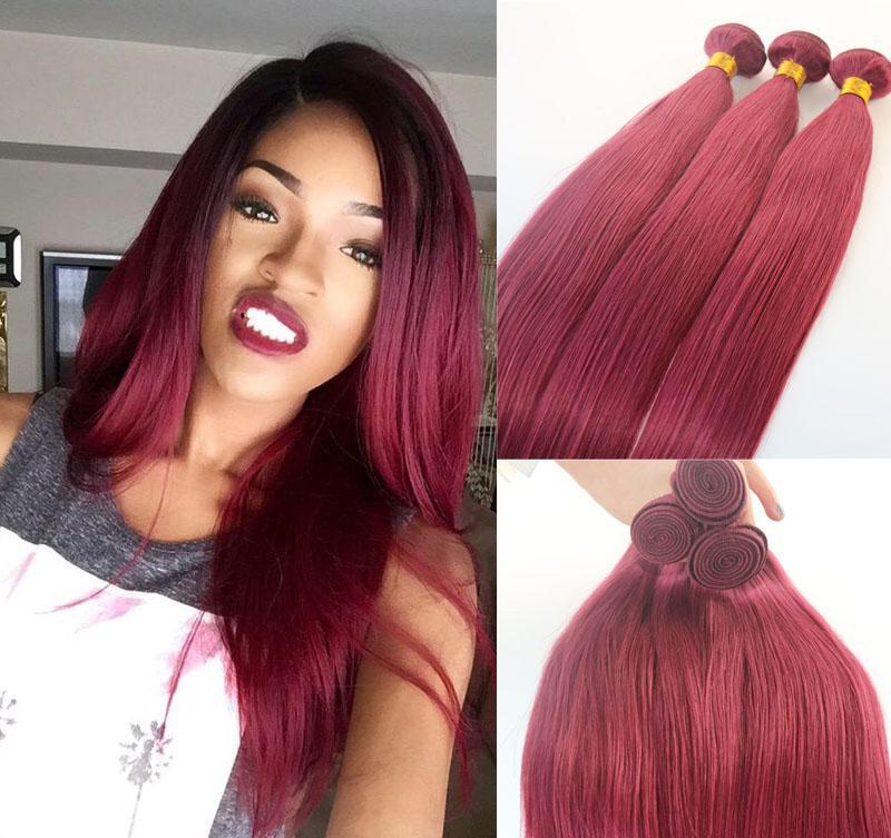 Human Hair Extensions Burgundy Red Human Hair Weave