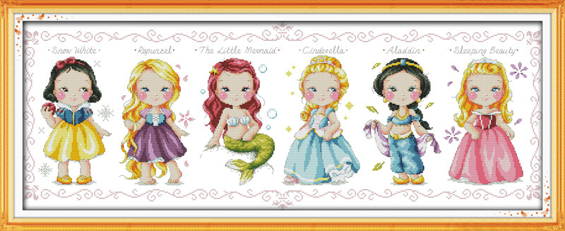 Cross Stitch Embroidery Starter Kit Including 11ct Classic Reserve Stamped Aida Colored Threads and Tools Mermaid