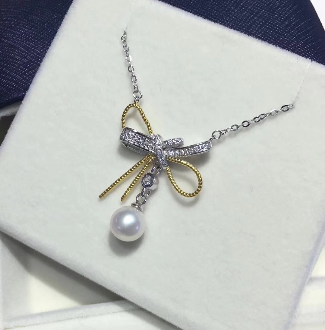 Pearl Jewelry Pendant Mounts with Chain ,Real Sterling Silver 925  1
