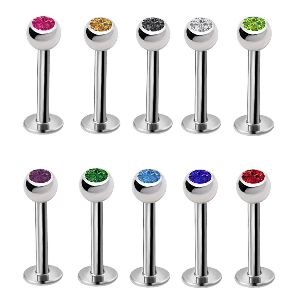 "1pc Gauge 1/4"" Steel Crystal Ball Cartilage Earring Eyebrow Lip Ring BB25 0"