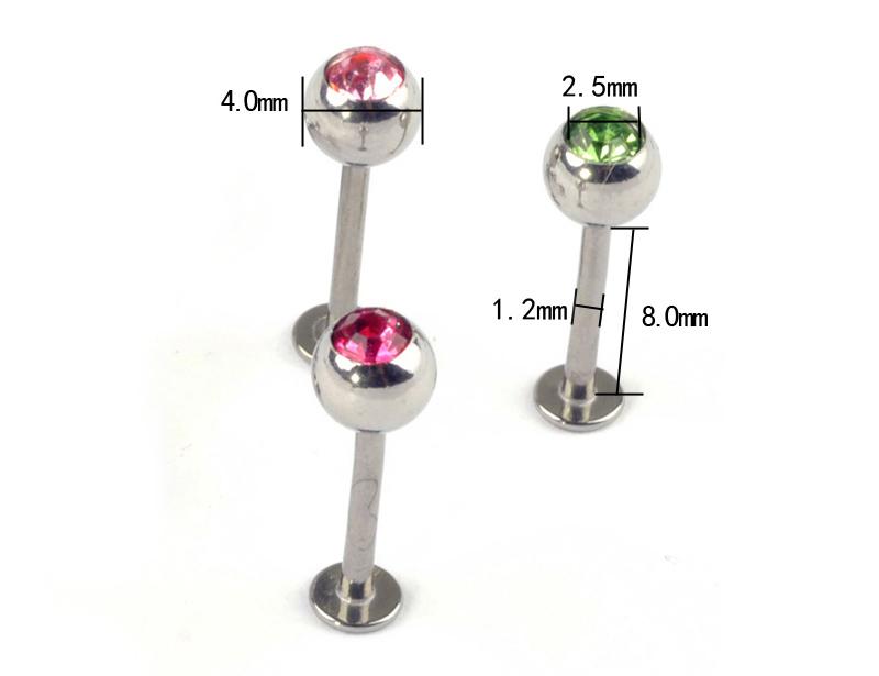"1pc Gauge 1/4"" Steel Crystal Ball Cartilage Earring Eyebrow Lip Ring BB25 1"