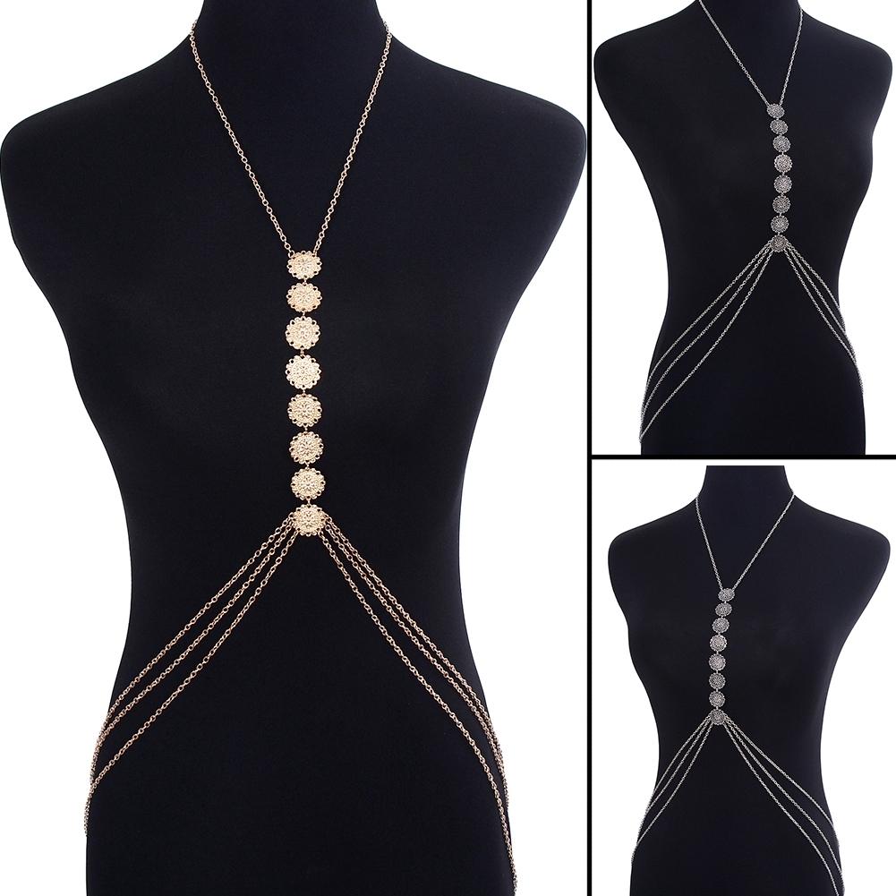 Womens Harness Body Chest Belly Waist Chain Necklace Beach Bikini Jewelry Silver BAP0013 15