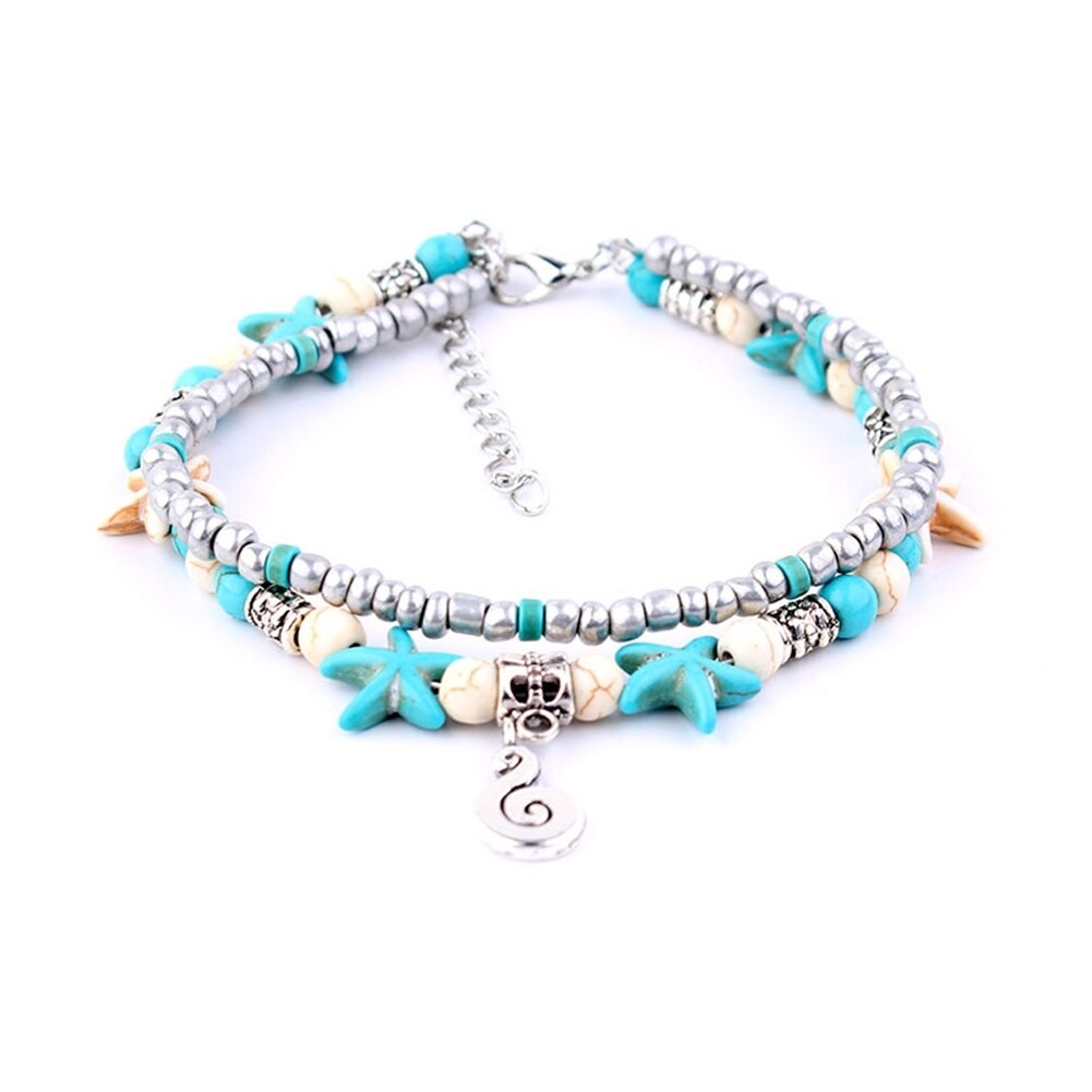 Conch Medusa Yoga Anklet Bracelet Beach Turtle Pendant Starfish Pearl Crystal Beads Bracelet BA0110 2