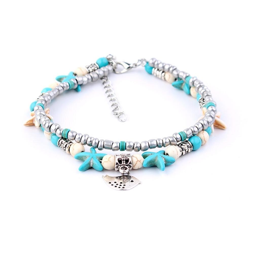 Conch Medusa Yoga Anklet Bracelet Beach Turtle Pendant Starfish Pearl Crystal Beads Bracelet BA0110 3