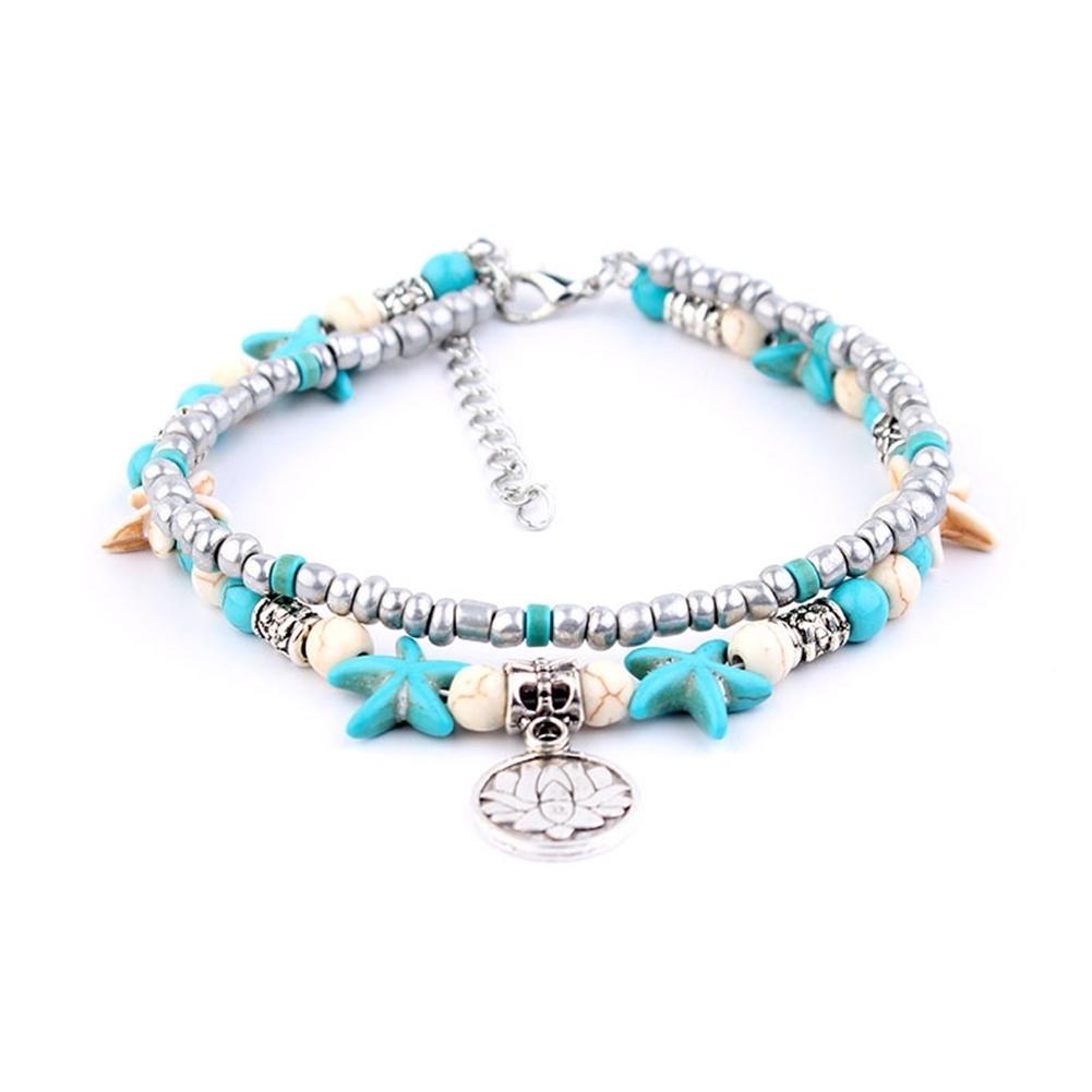 Conch Medusa Yoga Anklet Bracelet Beach Turtle Pendant Starfish Pearl Crystal Beads Bracelet BA0110 12