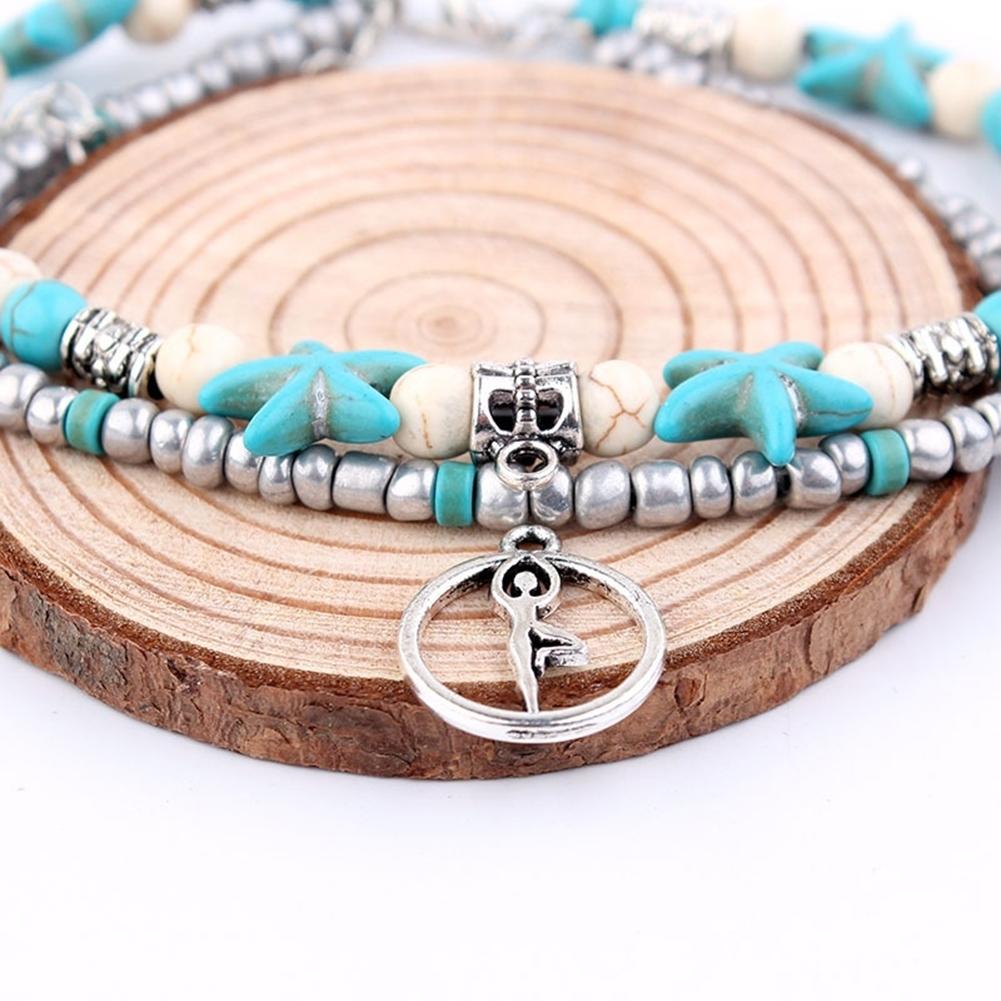 Conch Medusa Yoga Anklet Bracelet Beach Turtle Pendant Starfish Pearl Crystal Beads Bracelet BA0110 13