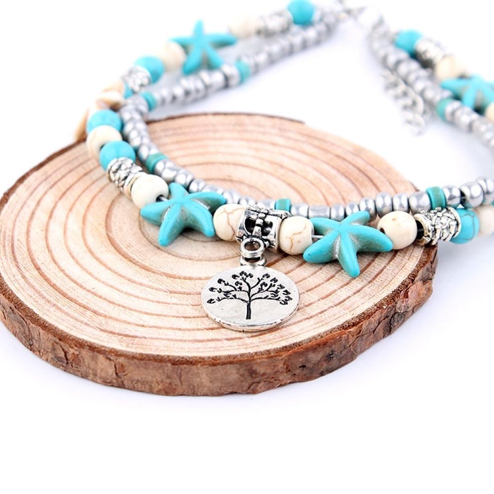 Conch Medusa Yoga Anklet Bracelet Beach Turtle Pendant Starfish Pearl Crystal Beads Bracelet BA0110 14