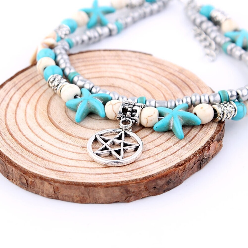 Conch Medusa Yoga Anklet Bracelet Beach Turtle Pendant Starfish Pearl Crystal Beads Bracelet BA0110 16