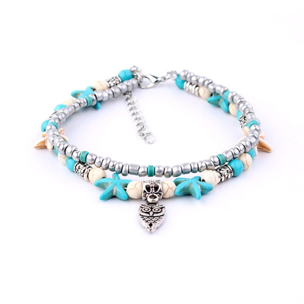 Conch Medusa Yoga Anklet Bracelet Beach Turtle Pendant Starfish Pearl Crystal Beads Bracelet BA0110 17