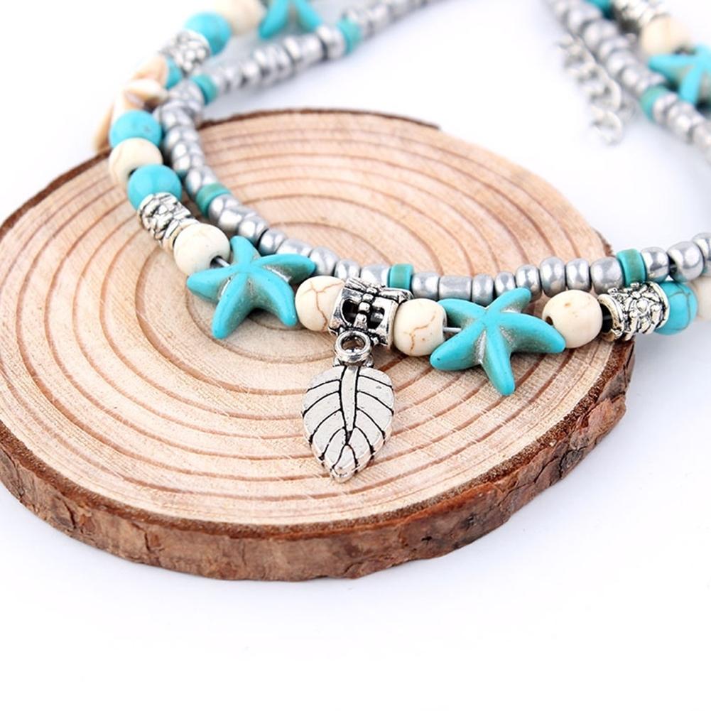Conch Medusa Yoga Anklet Bracelet Beach Turtle Pendant Starfish Pearl Crystal Beads Bracelet BA0110 18
