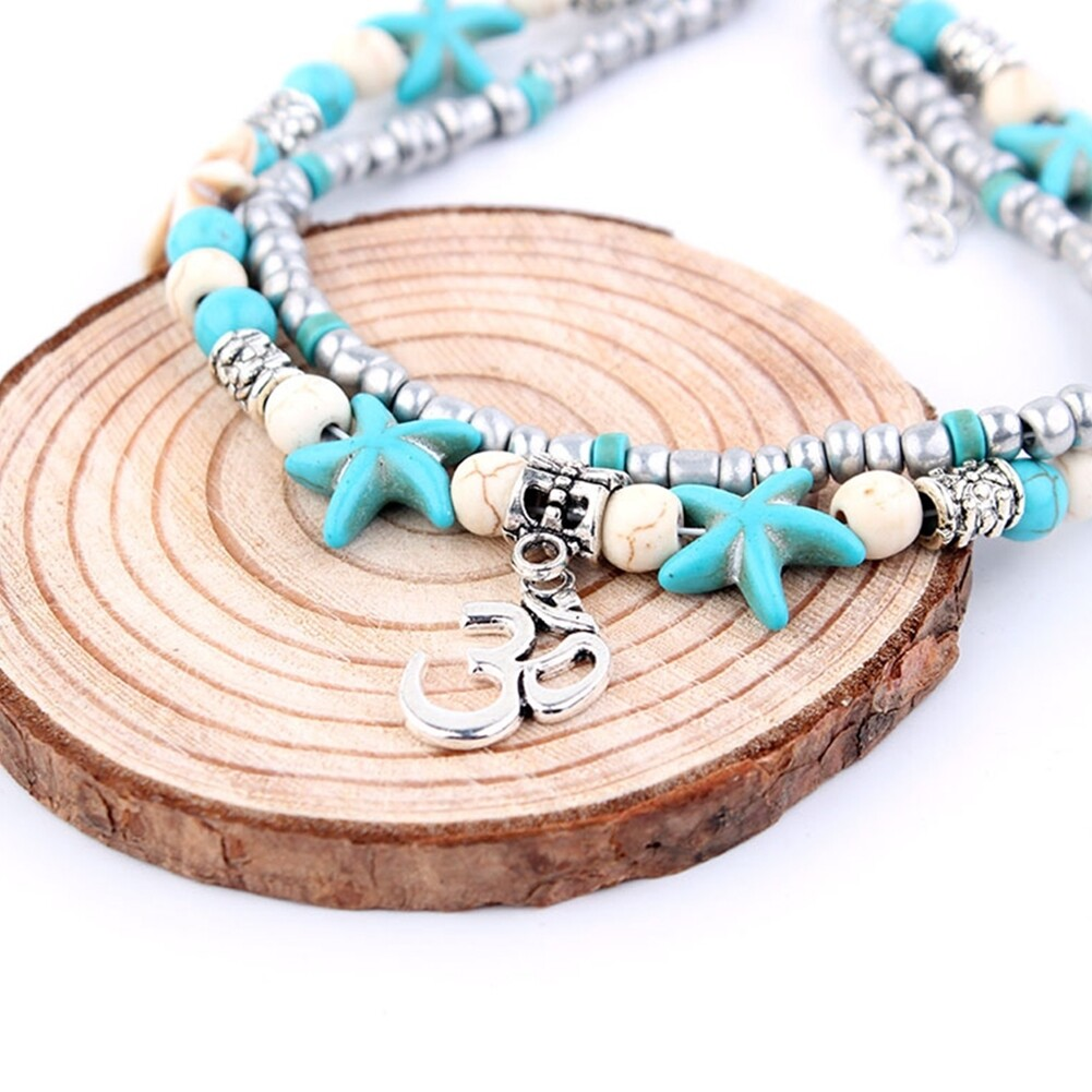 Conch Medusa Yoga Anklet Bracelet Beach Turtle Pendant Starfish Pearl Crystal Beads Bracelet BA0110 20