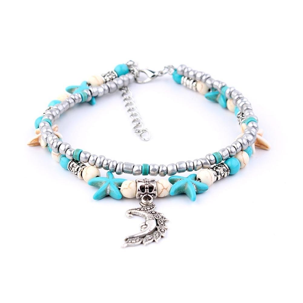 Conch Medusa Yoga Anklet Bracelet Beach Turtle Pendant Starfish Pearl Crystal Beads Bracelet BA0110 4