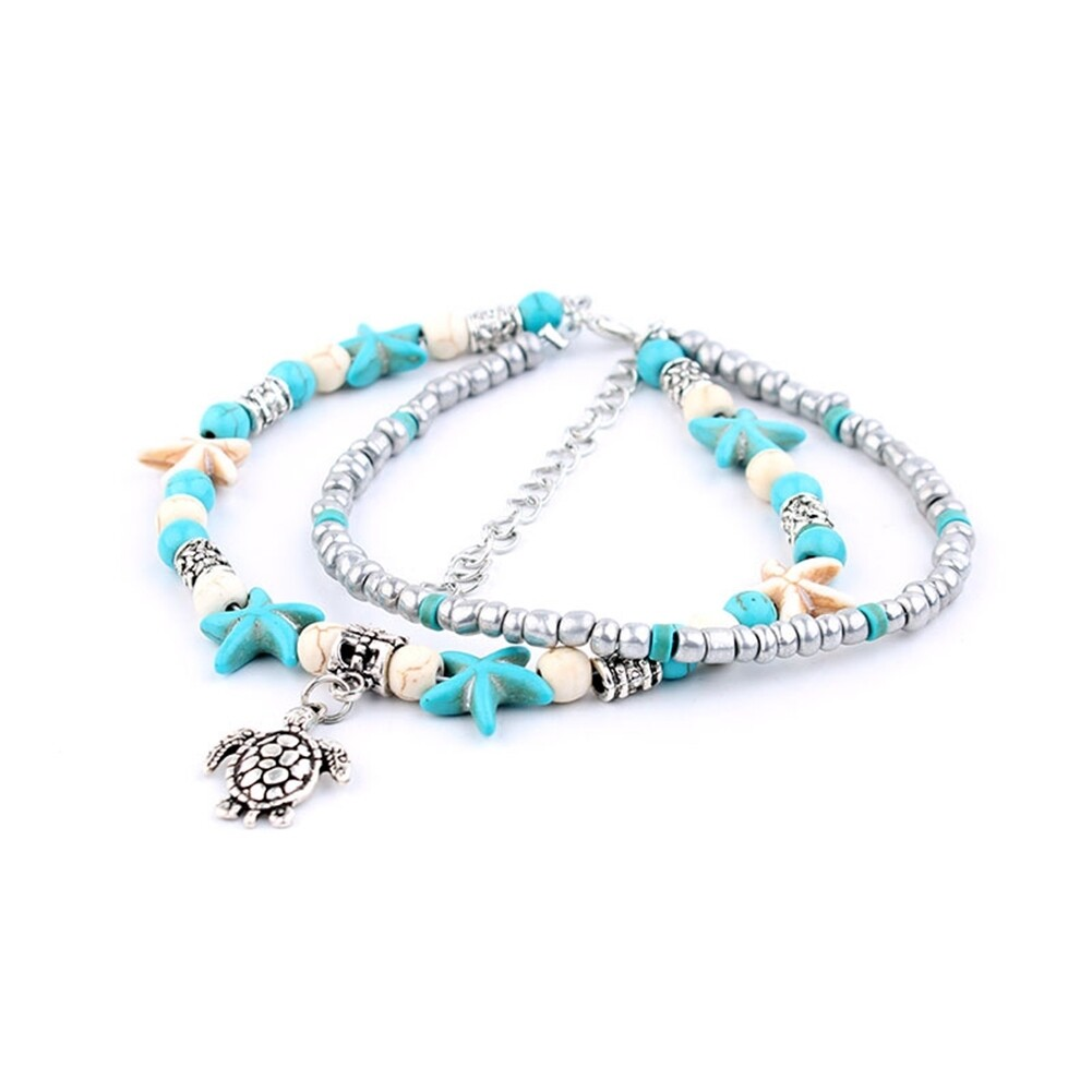 Conch Medusa Yoga Anklet Bracelet Beach Turtle Pendant Starfish Pearl Crystal Beads Bracelet BA0110 22
