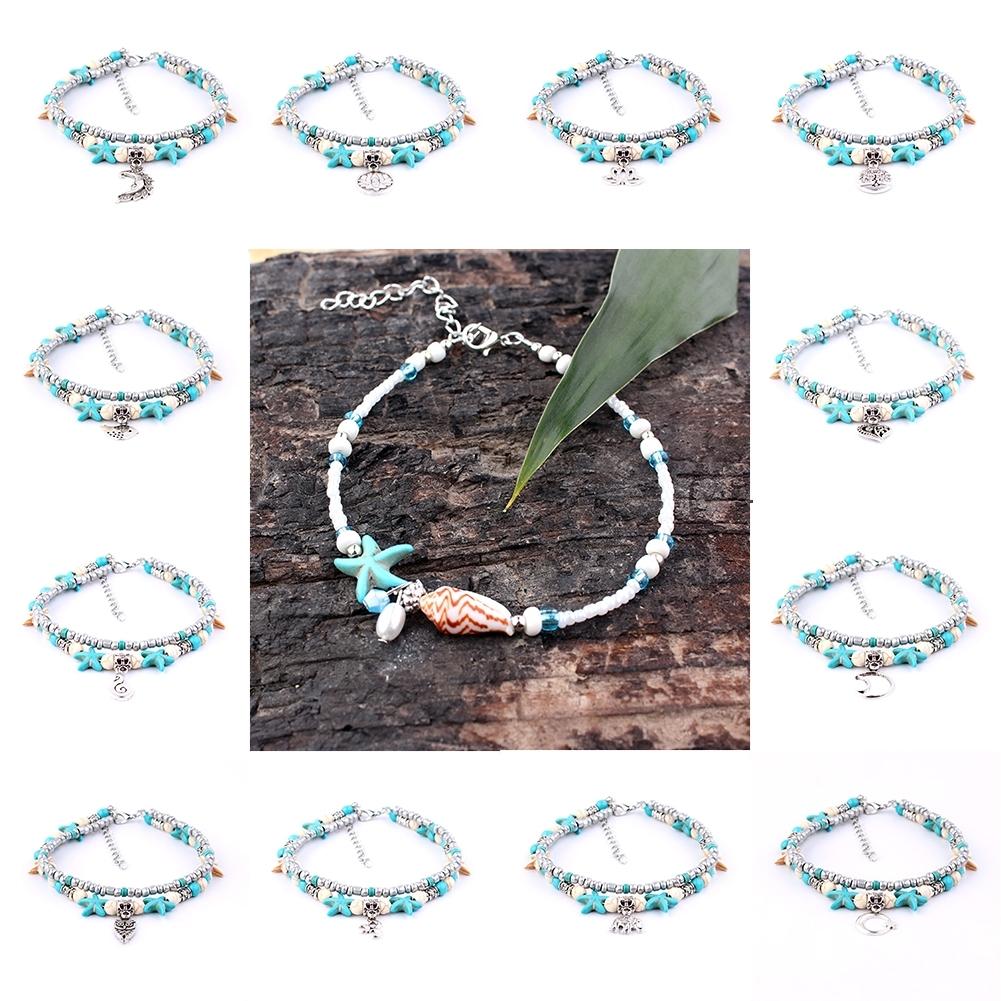Conch Medusa Yoga Anklet Bracelet Beach Turtle Pendant Starfish Pearl Crystal Beads Bracelet BA0110 0