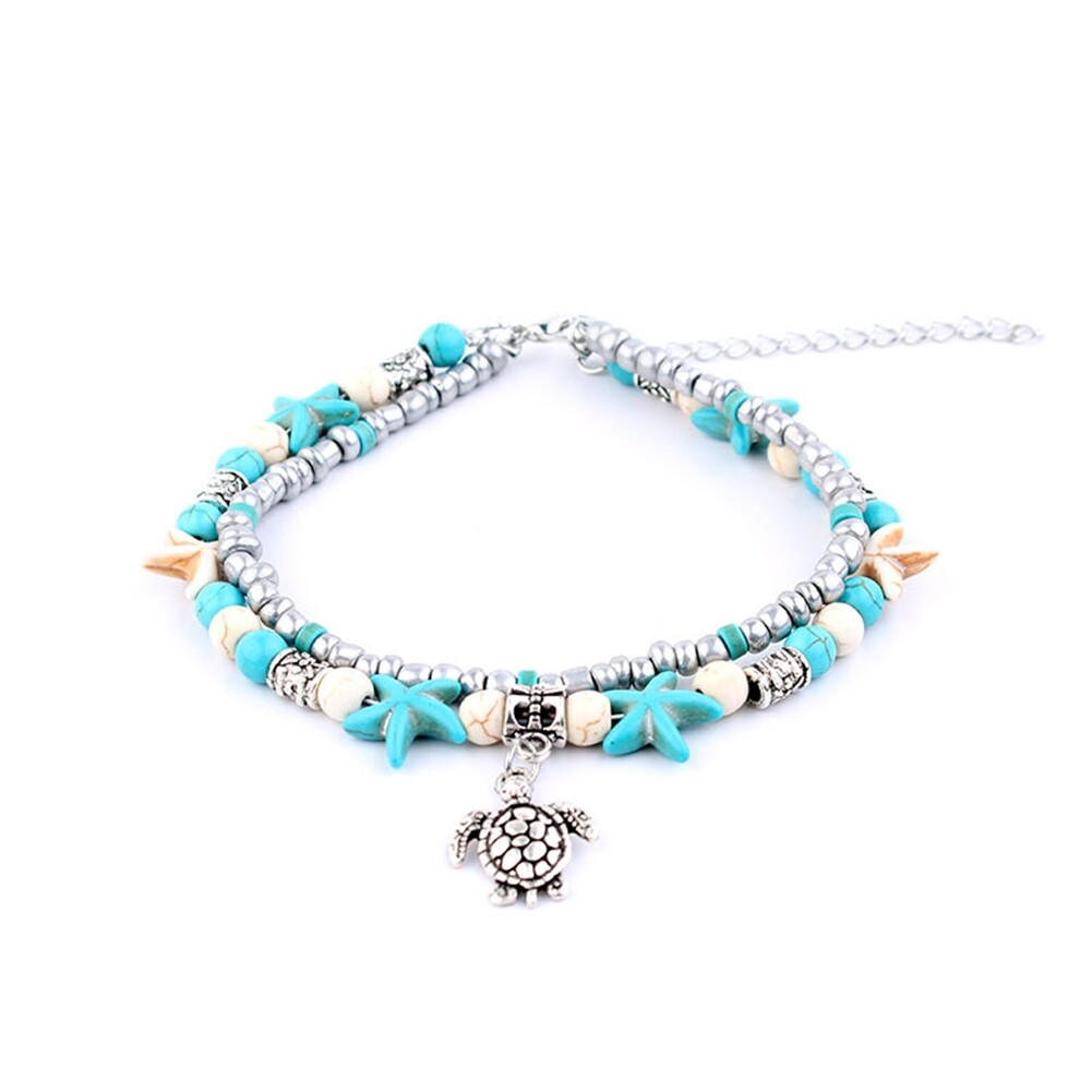 Conch Medusa Yoga Anklet Bracelet Beach Turtle Pendant Starfish Pearl Crystal Beads Bracelet BA0110 25