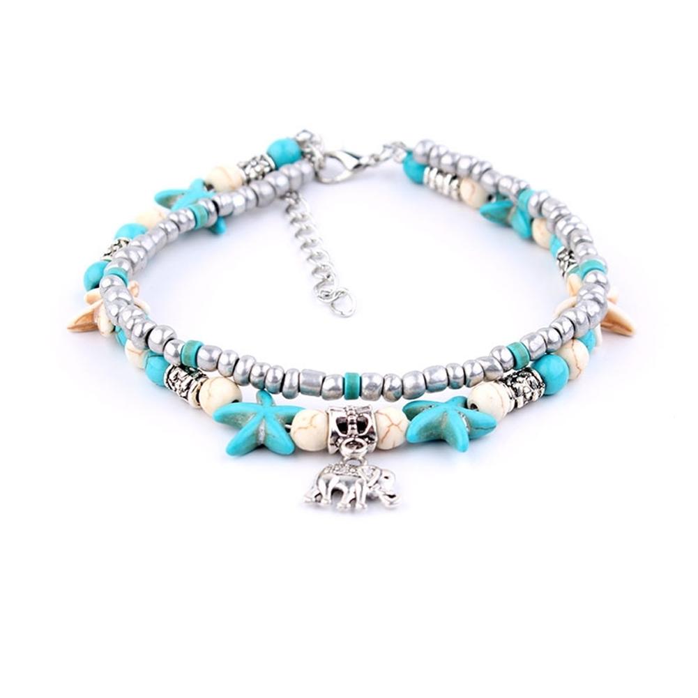 Conch Medusa Yoga Anklet Bracelet Beach Turtle Pendant Starfish Pearl Crystal Beads Bracelet BA0110 5