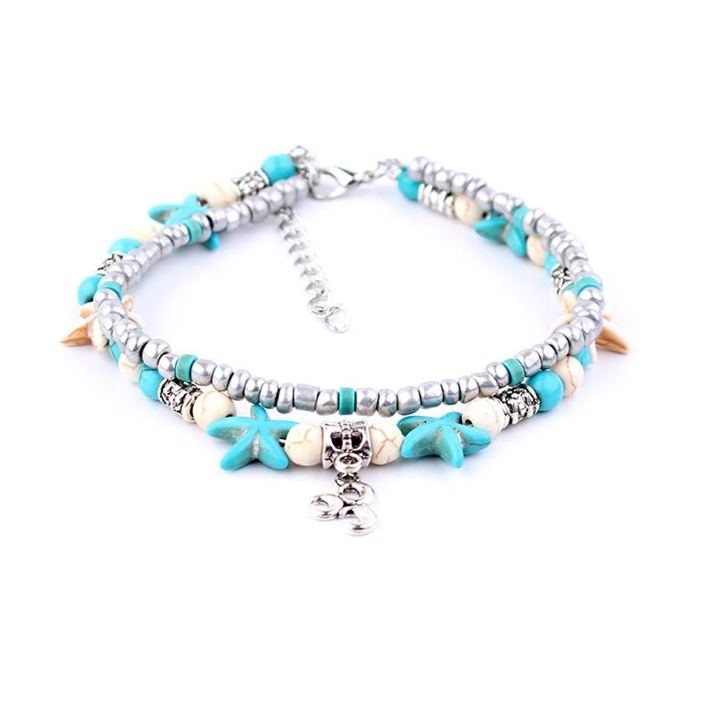 Conch Medusa Yoga Anklet Bracelet Beach Turtle Pendant Starfish Pearl Crystal Beads Bracelet BA0110 6