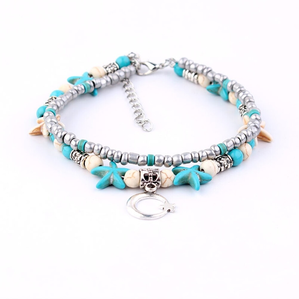Conch Medusa Yoga Anklet Bracelet Beach Turtle Pendant Starfish Pearl Crystal Beads Bracelet BA0110 8