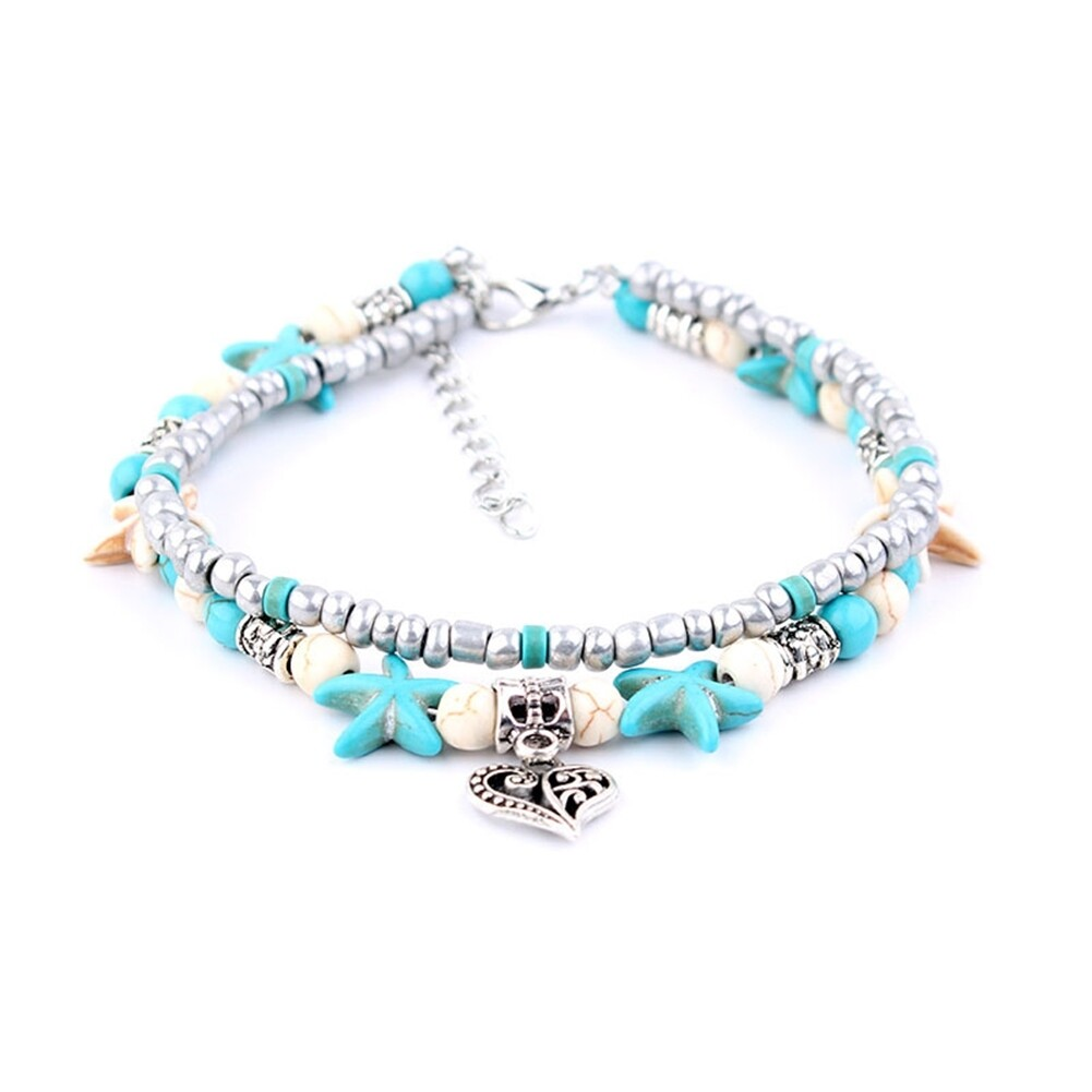 Conch Medusa Yoga Anklet Bracelet Beach Turtle Pendant Starfish Pearl Crystal Beads Bracelet BA0110 9