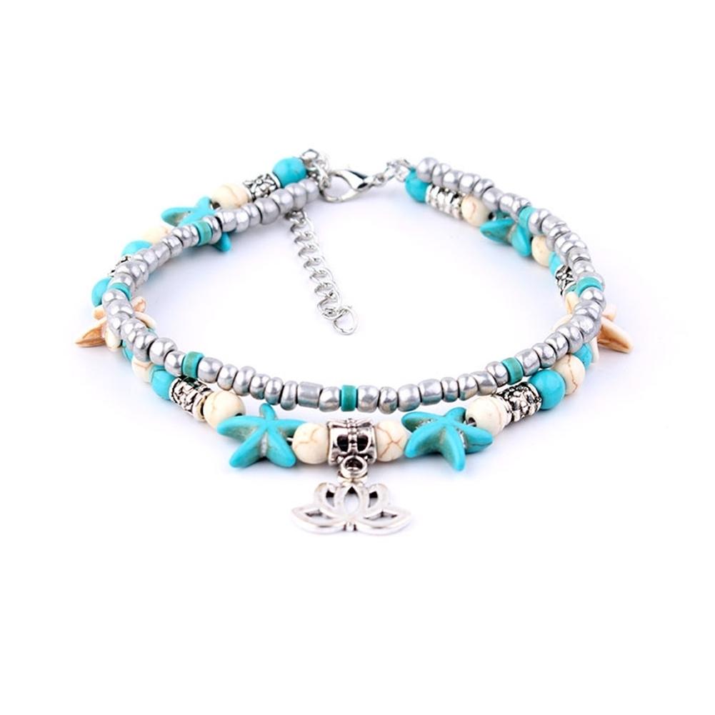 Conch Medusa Yoga Anklet Bracelet Beach Turtle Pendant Starfish Pearl Crystal Beads Bracelet BA0110 10