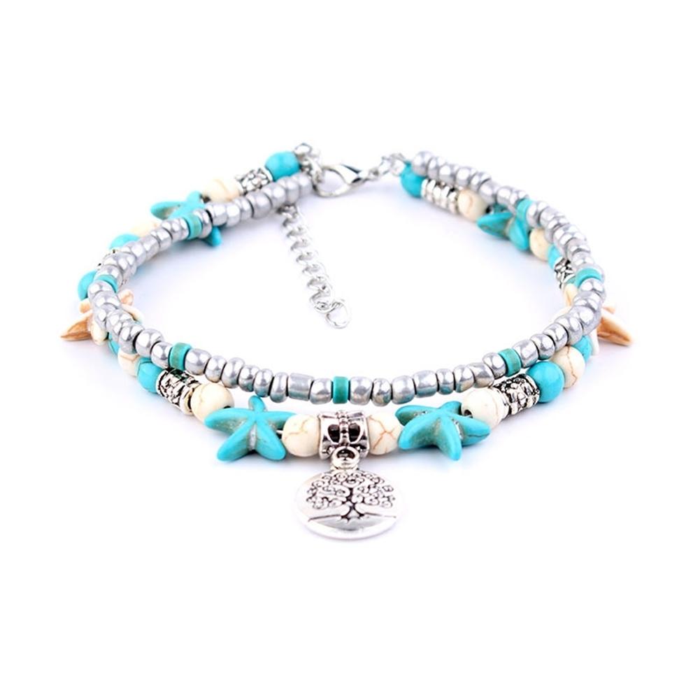 Conch Medusa Yoga Anklet Bracelet Beach Turtle Pendant Starfish Pearl Crystal Beads Bracelet BA0110 11