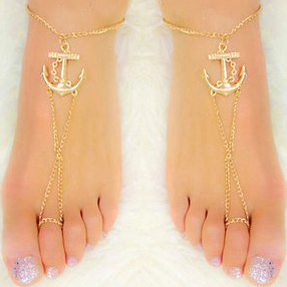 Fashion Beach Holiday Golden Boat Anchor Ankle Bracelet Sandal Foot Chain 1PCS GE09015 5