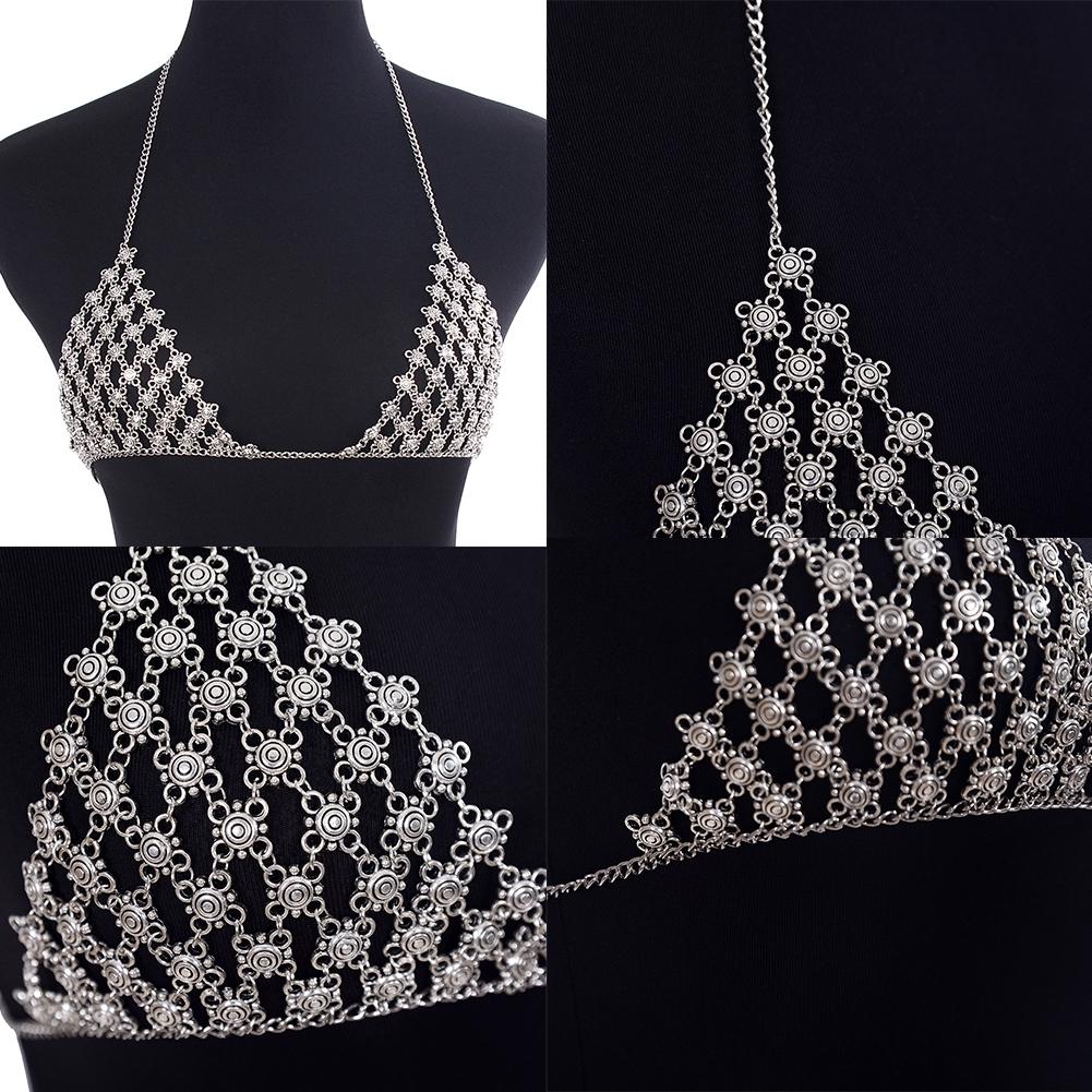 New Imixlot Body Bra Bikini Sexy Chain Women Statement Metal Bra Chain Bralette Beach Party Harness Necklace Jewelry BAP0033 1