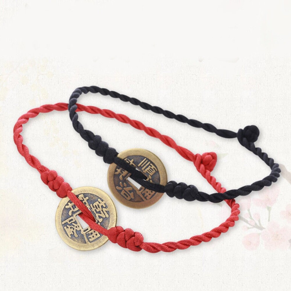 Imixlot Handmade Chinese Antique Coins Rope Bracelets Folk Style Anklets Red Red String Bracelet Anklet Ethnic Jewelry BA0120 0