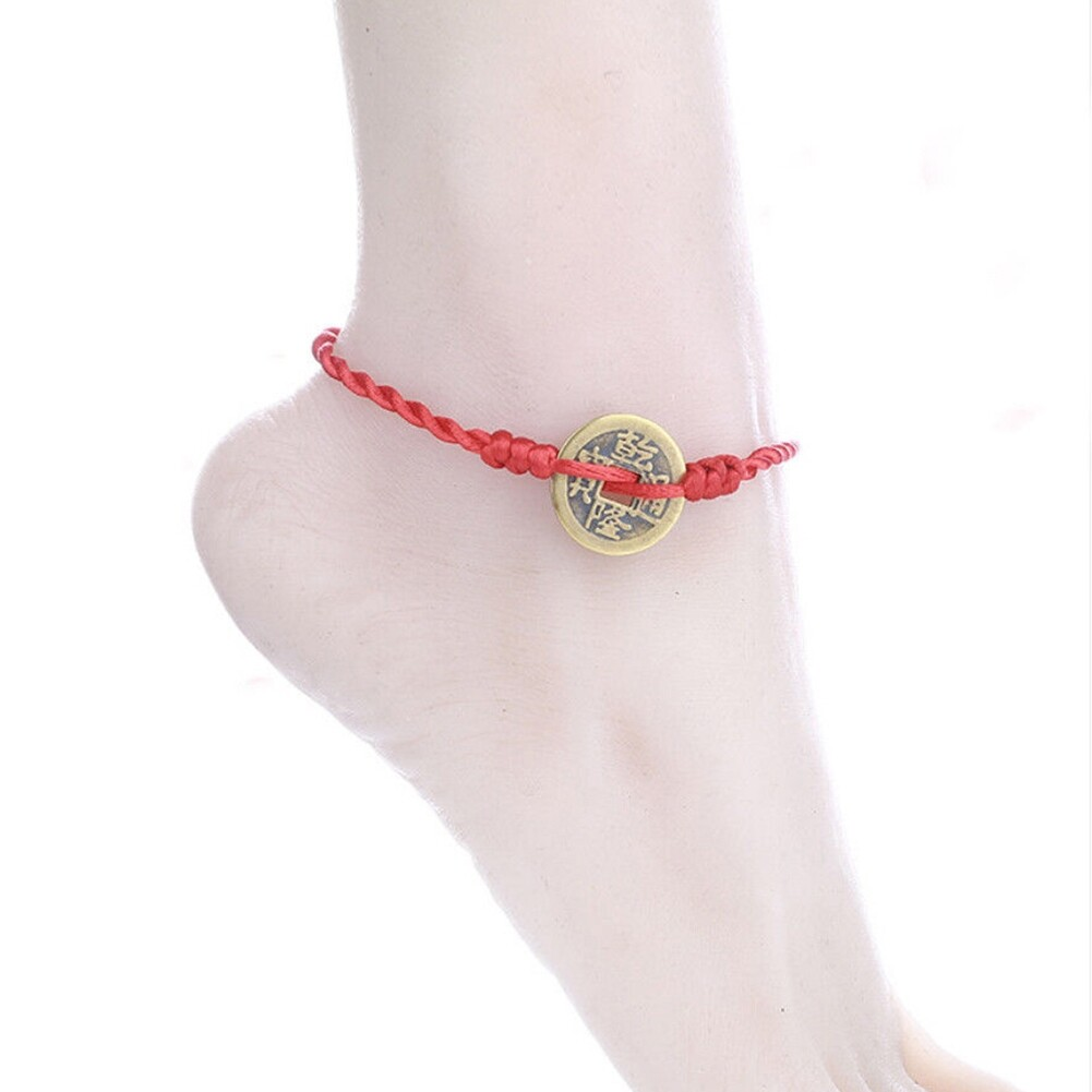 Imixlot Handmade Chinese Antique Coins Rope Bracelets Folk Style Anklets Red Red String Bracelet Anklet Ethnic Jewelry BA0120 1