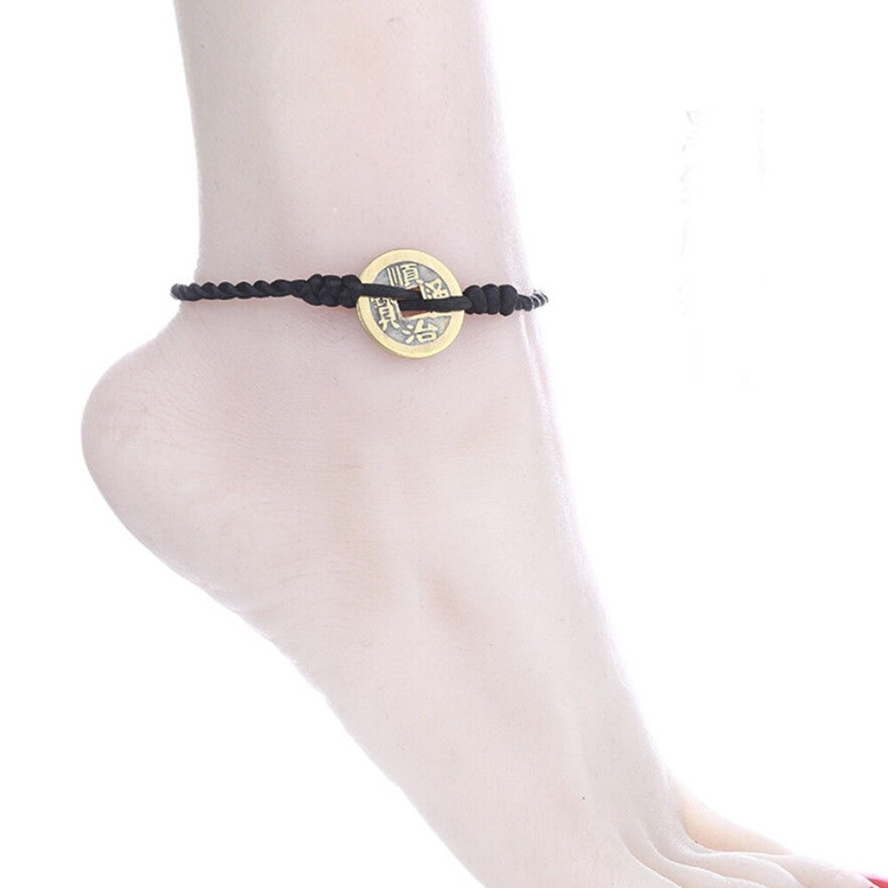 Imixlot Handmade Chinese Antique Coins Rope Bracelets Folk Style Anklets Red Red String Bracelet Anklet Ethnic Jewelry BA0120 2