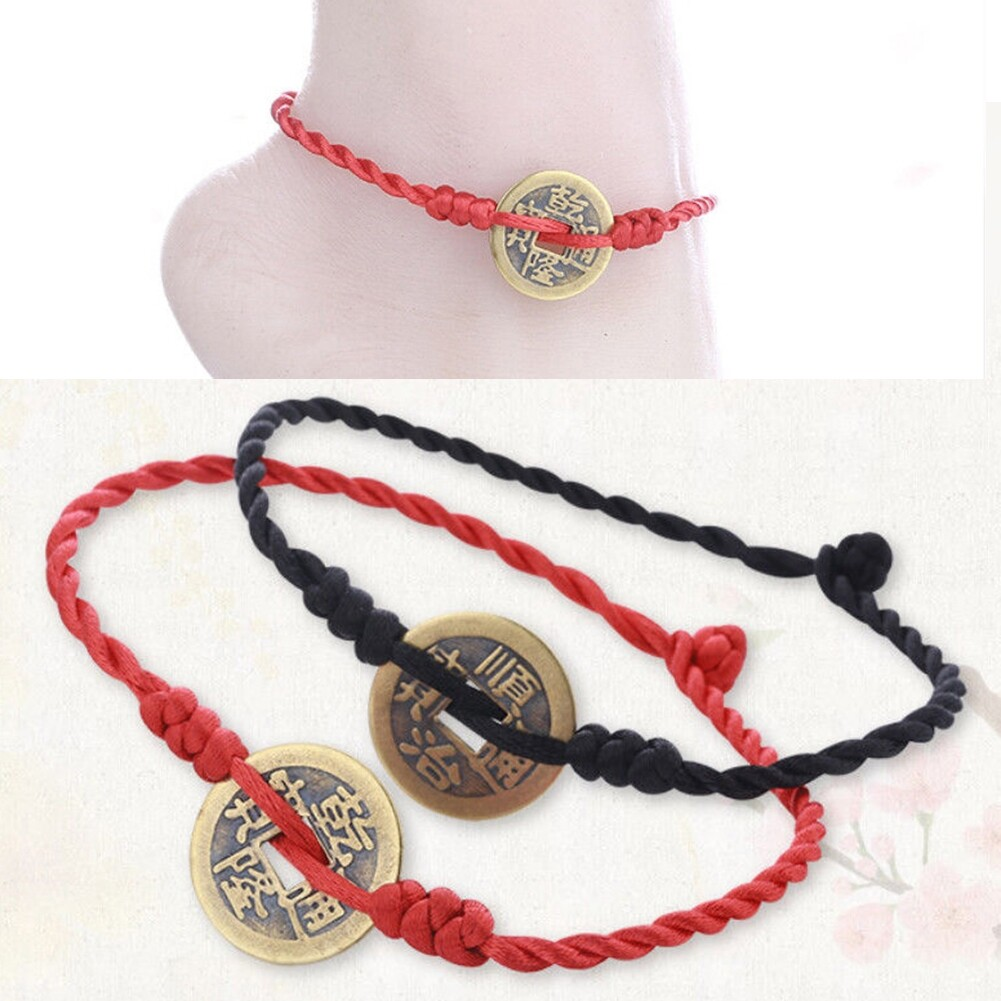 Imixlot Handmade Chinese Antique Coins Rope Bracelets Folk Style Anklets Red Red String Bracelet Anklet Ethnic Jewelry BA0120 6