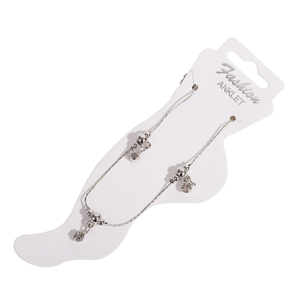 Vintage Fashion Crystal Anklets For Women Stainless Steel Shoe Boot Chain Bracelet Foot Jewelry BA0114 16