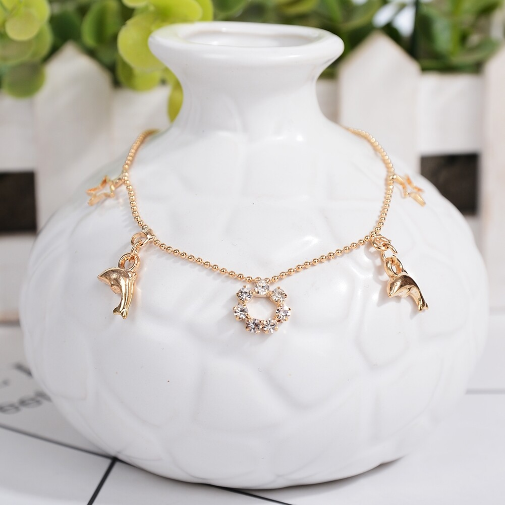 Vintage Fashion Crystal Anklets For Women Stainless Steel Shoe Boot Chain Bracelet Foot Jewelry BA0114 3