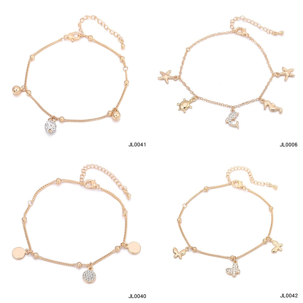 Women Foot Feet Bracelets Flower Rose Gold Ankle Chain Leg Jewelry Accessories BA0071 1
