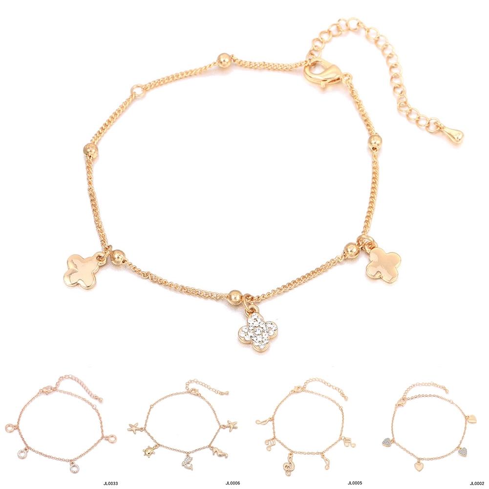 Women Foot Feet Bracelets Flower Rose Gold Ankle Chain Leg Jewelry Accessories BA0071 0