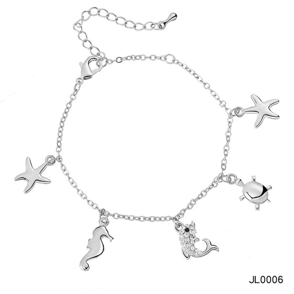 Women's musical notes anklet simple bells multi-layered stars love diamonds love footstool BA0072 8