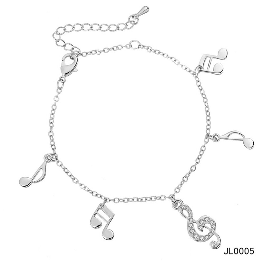 Women's musical notes anklet simple bells multi-layered stars love diamonds love footstool BA0072 9