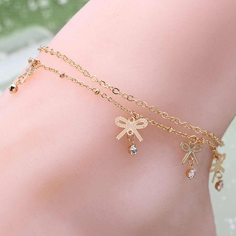 Boho Vintage Elegant Bowknot Anklet Chain Gold Color Foot Ankle Barefoot Bracelet Fashion Crystal Beach Accessories BA0027 1