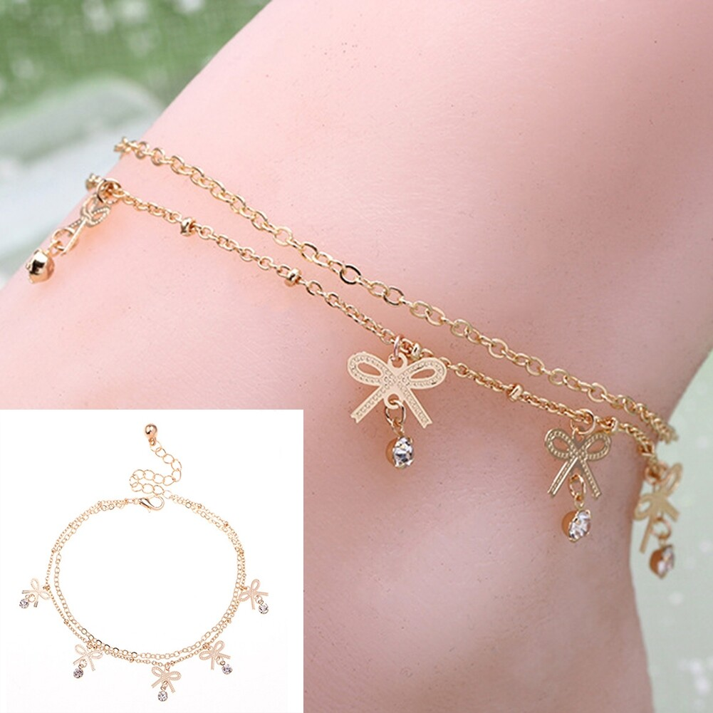 Boho Vintage Elegant Bowknot Anklet Chain Gold Color Foot Ankle Barefoot Bracelet Fashion Crystal Beach Accessories BA0027 3