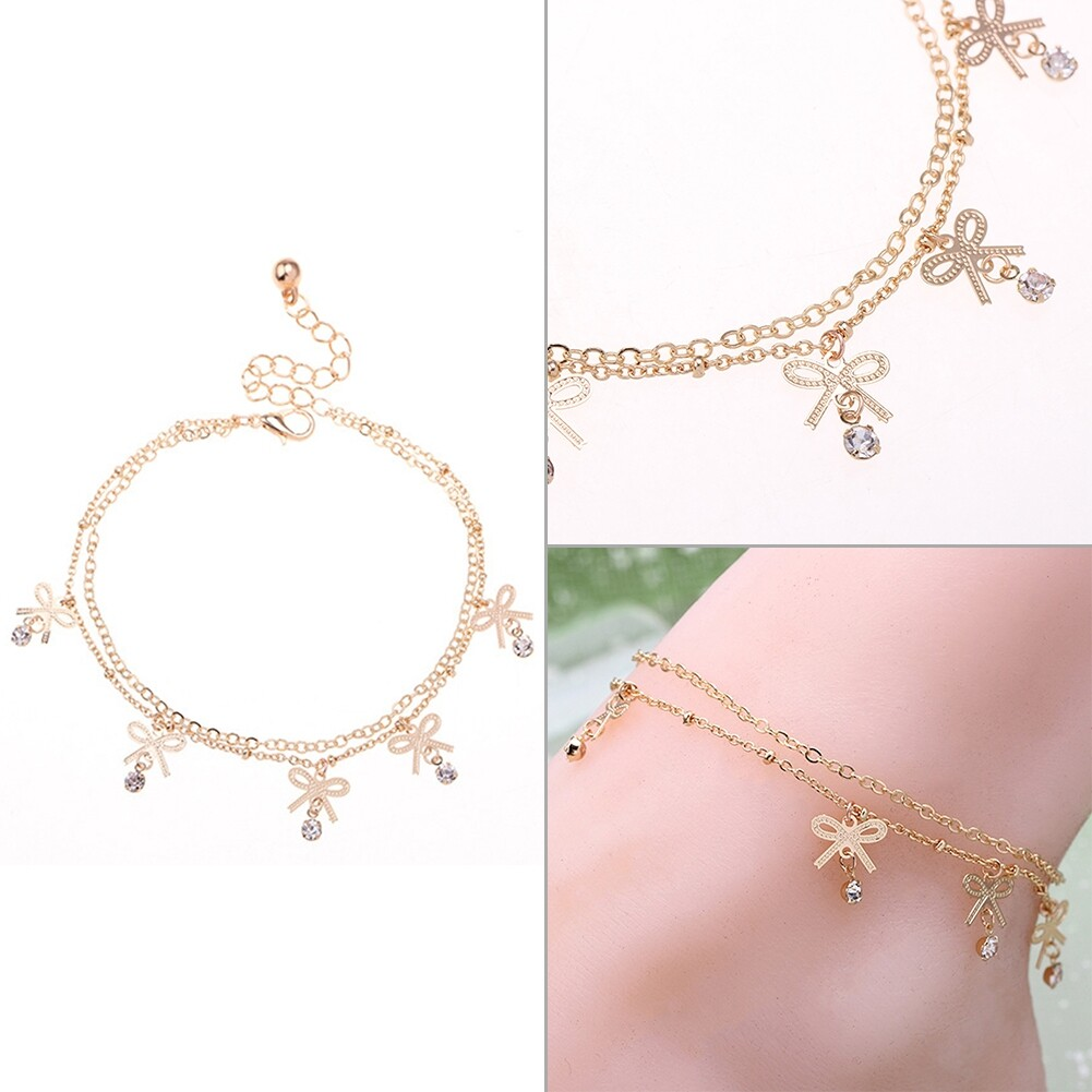 Boho Vintage Elegant Bowknot Anklet Chain Gold Color Foot Ankle Barefoot Bracelet Fashion Crystal Beach Accessories BA0027 4