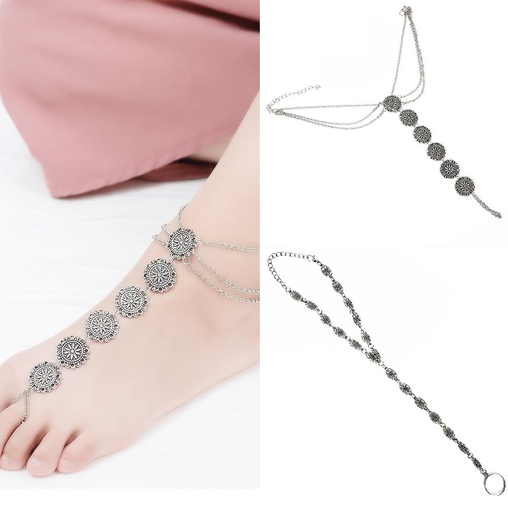 Fashion Women Flower Coin Anklet Foot Chain Ankle Bracelet Toe Ring Beach BA0126 15