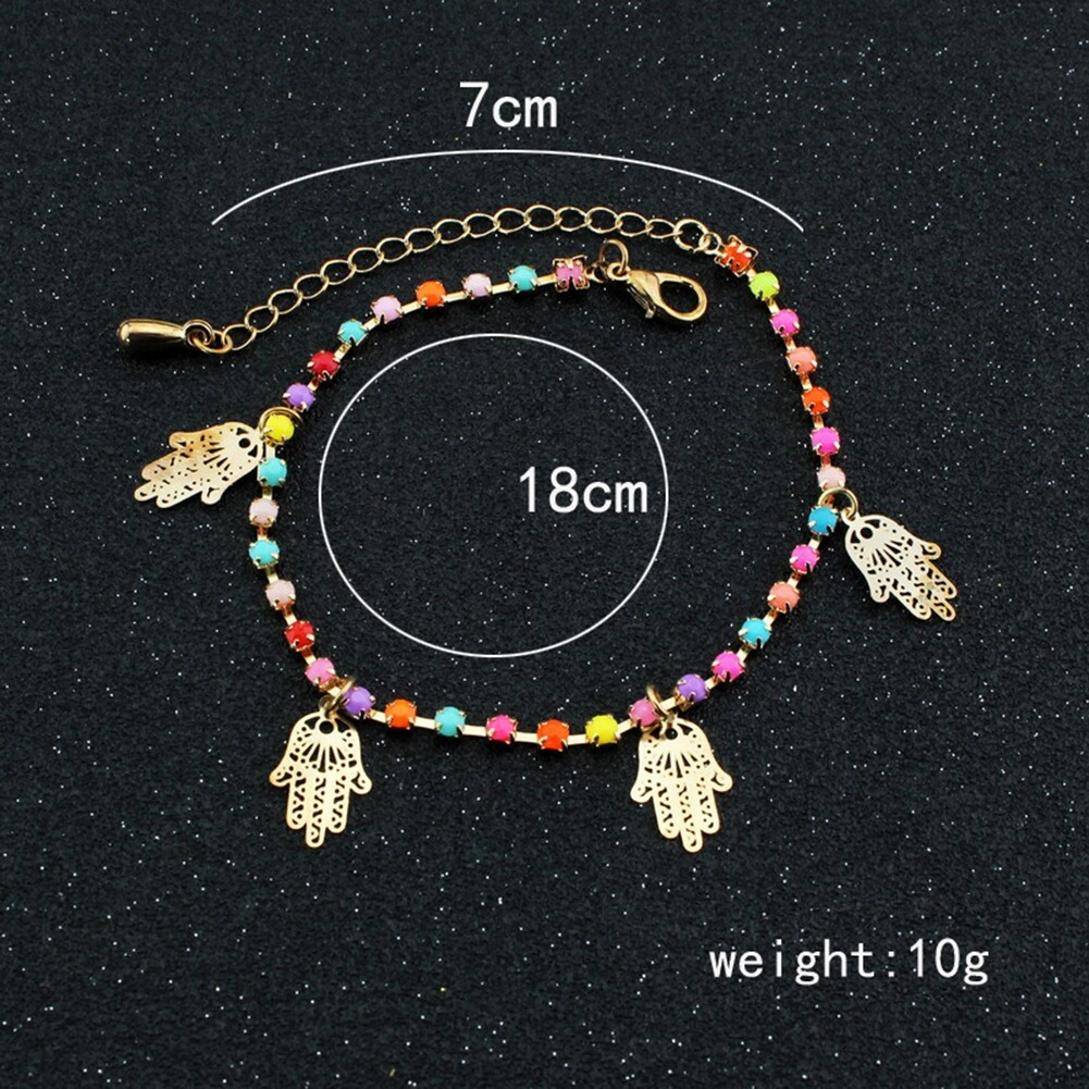 Fatima Coin Anklets With Bell Sandal Beach Chain Gold Plated Stretch BA0050 1
